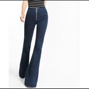 Express Bell Bottom Flare Front Circle Zip Jeans